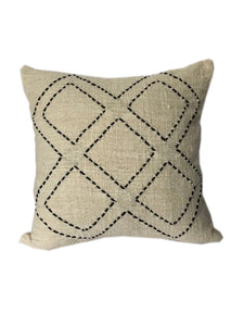 Tribal Cream Textured & Embroidered Diamond Cushion 50 x 50 cm
