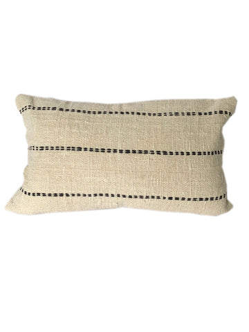 Tribal Cream Textured & Embroidered Cushion 50 x 35 cm