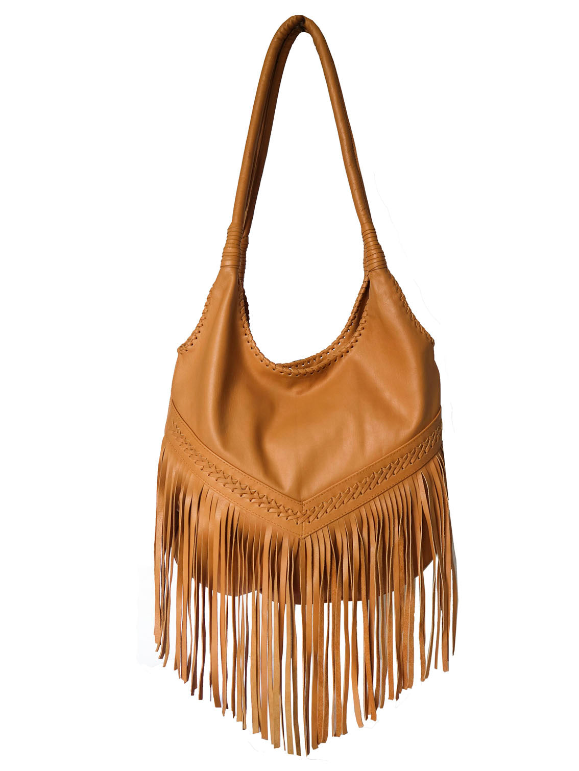 Fringed Hobo Slouch Leather Bag - Tan