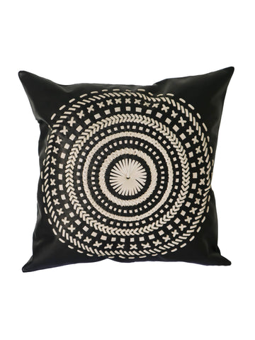 Leather hand stitched Mandala cushion - Black/Cream  50 x 50 cm