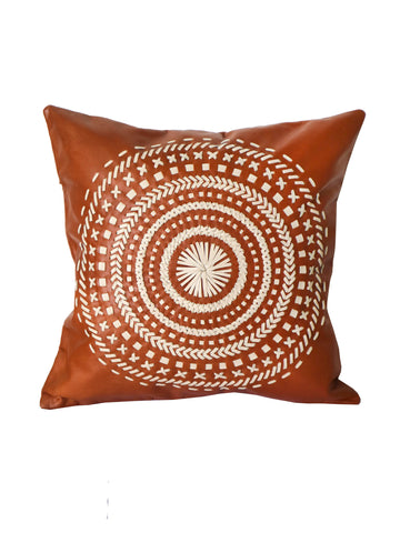 Leather Tan and Cream Embroidered Mandala Cushion 50 x 50 cm