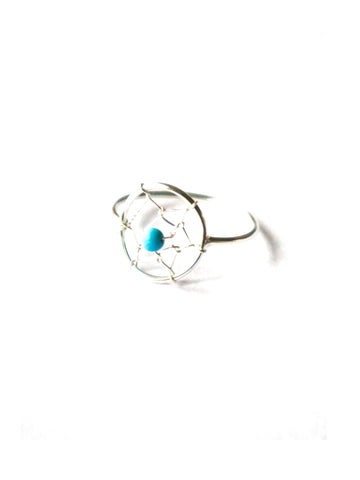Mandala Sterling Silver Ring with Turquoise Stone