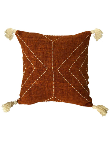 Terracotta Tribal Textured & Embroidered Cushion 50 x 50 cm