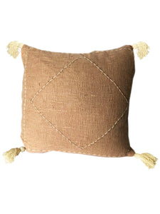 Blush Pink Tribal Textured & Embroidered Cushion 50 x 50 cm