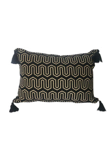 Retro Stripe Black and Cream Cushion 30 x 50 cm