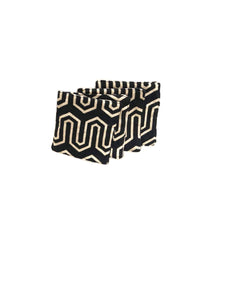 Retro Print Coaster Set  - Black / Cream