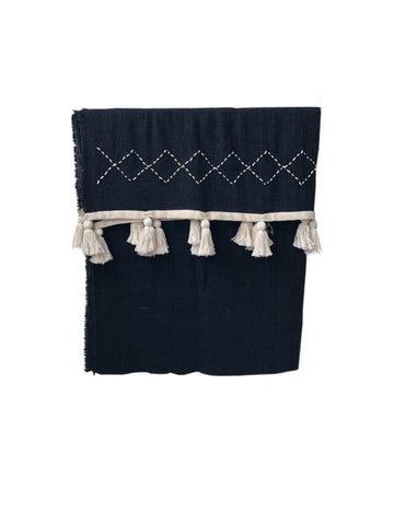 Hand Stitched Throw Embroidered W Tassels - Black / Cream
