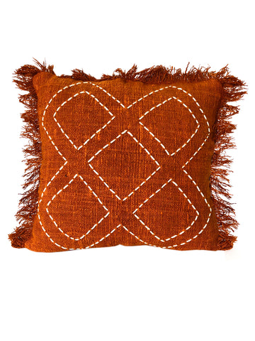 Terracotta Tribal Textured & Embroidered w Diamond Pattern Cushion 50 x 50 cm