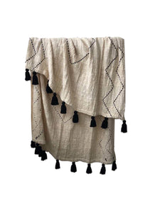 Hand Stitched Throw Embroidered W Tassels - Cream / Black