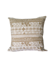 Linen Tribal Printed Cushion Beige and Cream 60 x 60 cm