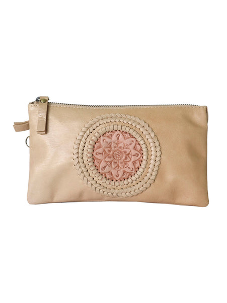 Leather Wallet / Clutch Bag - Nude