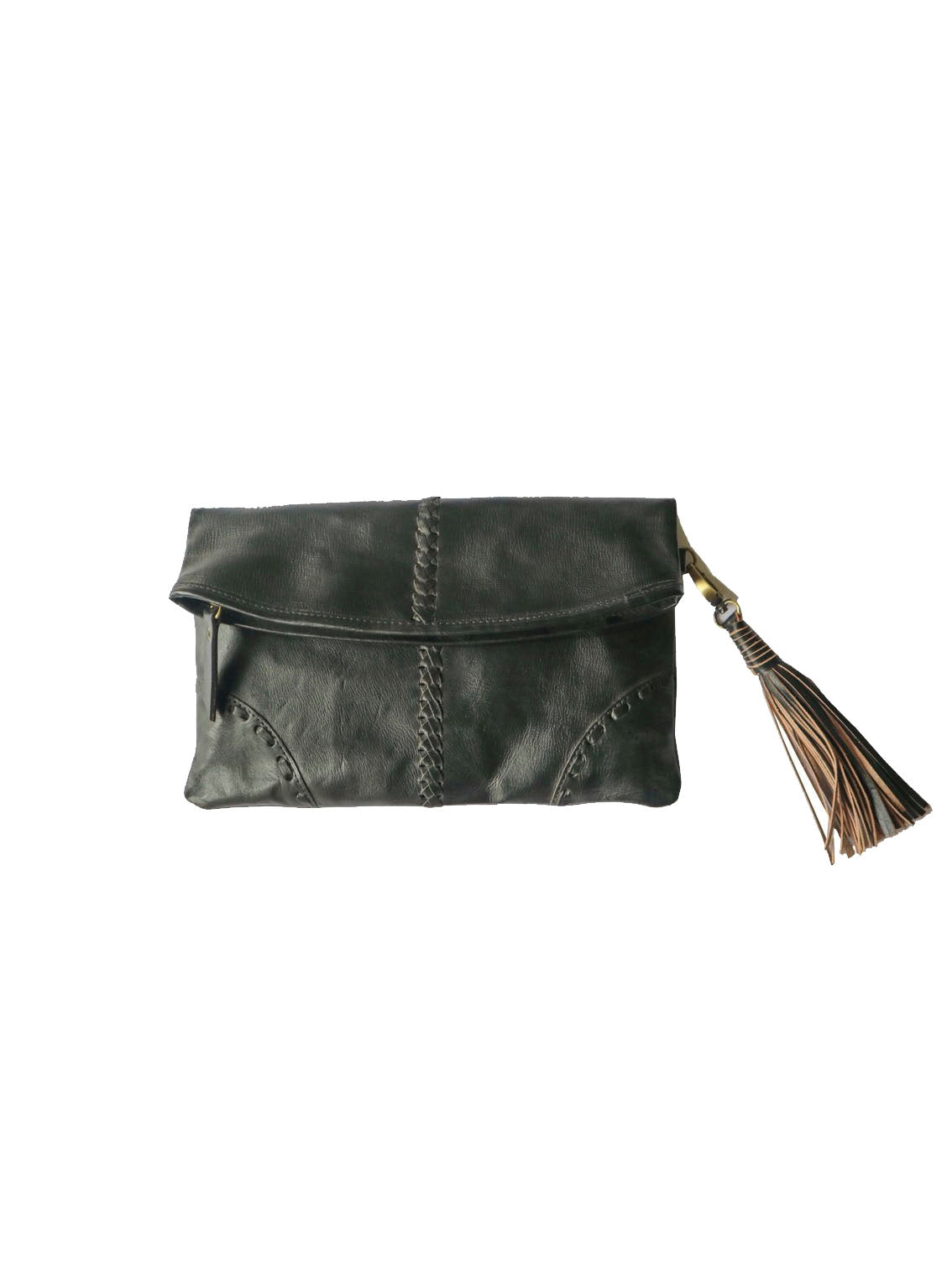 Black Leather clutch with Tassel and Stitch Detail