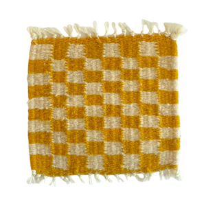 Checkered Coasters Ocre