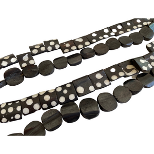 Black Batik Bone Styling Beads