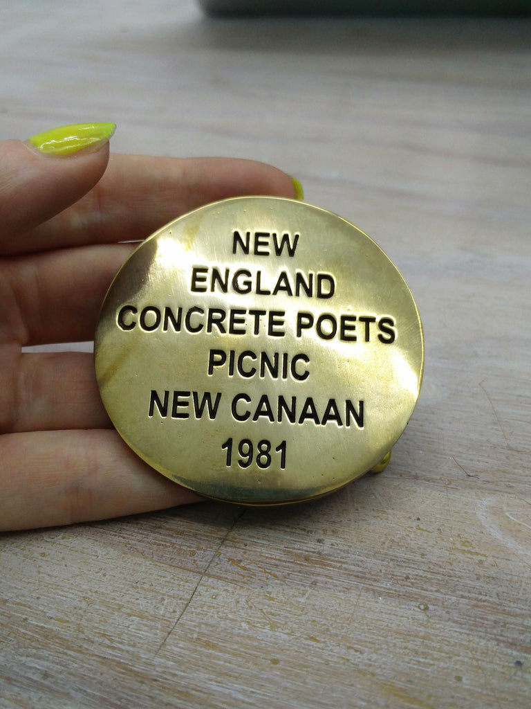 Cary Leibowitz | New England Concrete Poets Picnic, Belt Buckle