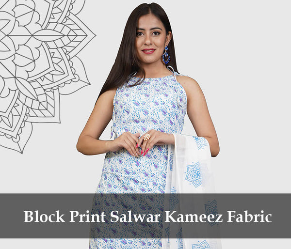 salwar suit fabric block print