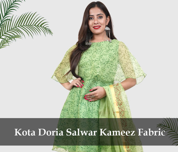 salwar suit green fabric kota doria