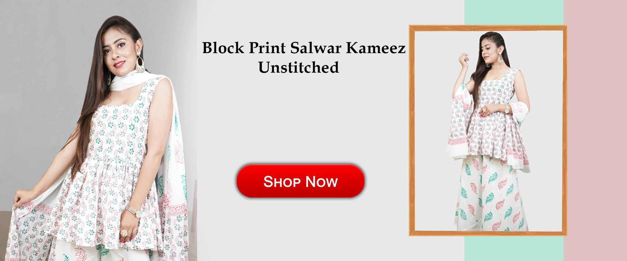 Block Print Unstitched Salwar Suit
