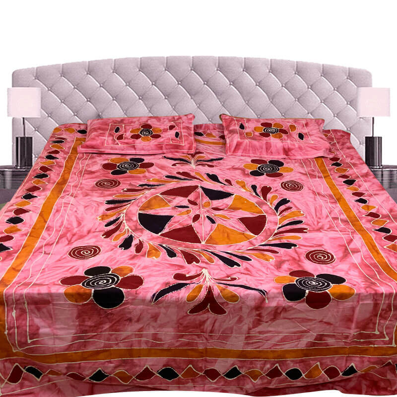 Kalamkari Printed Pink Color Double Bedsheet with Pillow Covers | डबल बेडशीट के साथ तकिया कवर