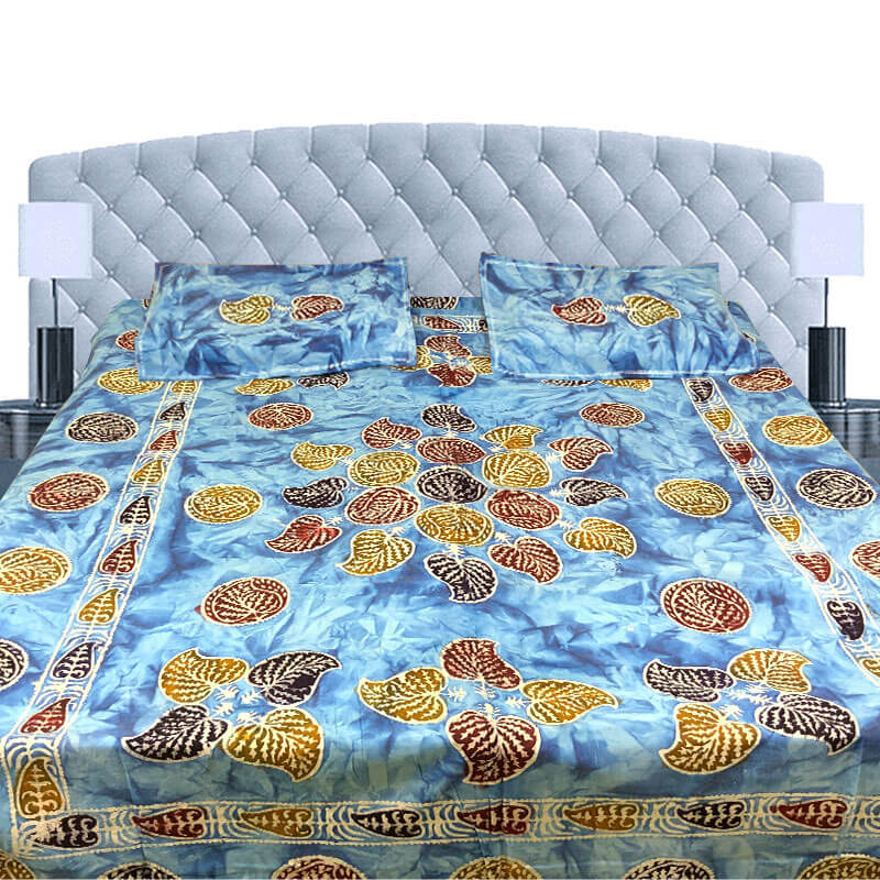 Block Printed Light Blue Color Double Bedsheet with Pillow Covers | डबल बेडशीट के साथ तकिया कवर