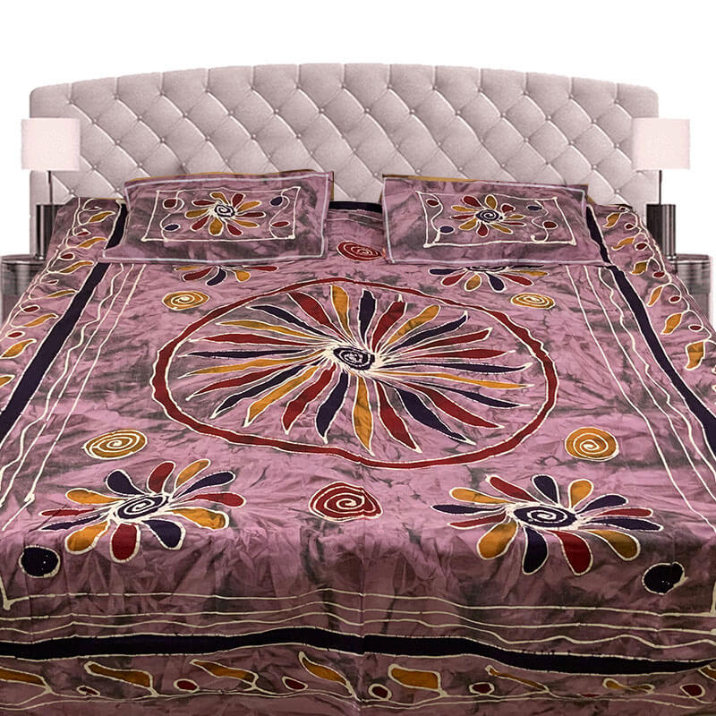 Kalamkari Printed Cordovan Color Double Bedsheet with Pillow Covers | डबल बेडशीट के साथ तकिया कवर