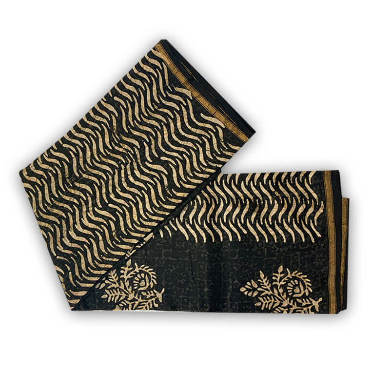 Chanderi Silk Cotton Chillies Black & Wheat Color Sarees | चंदेरी सिल्क साड़ी