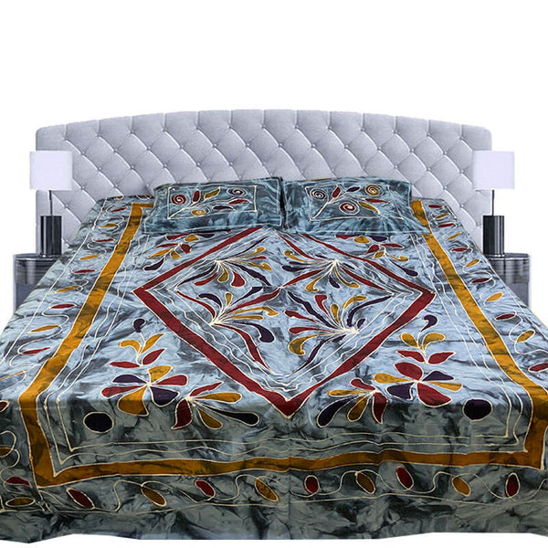 Kalamkari Printed Blue Color Double Bedsheet with Pillow Covers | डबल बेडशीट के साथ तकिया कवर