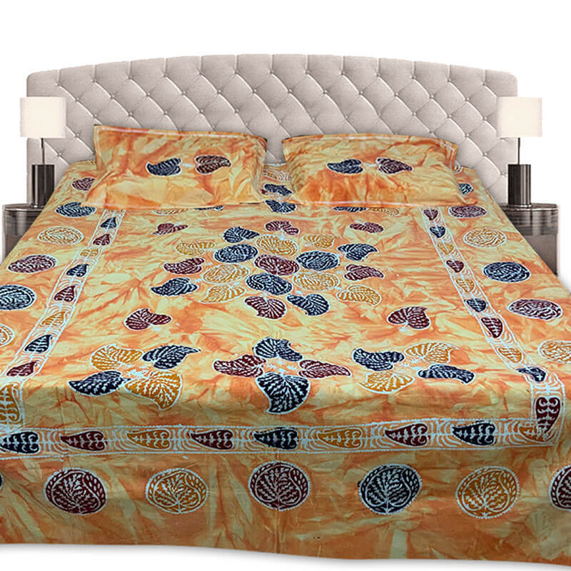 Block Printed Princeton Orange Double Bedsheet with Pillow Covers | डबल बेडशीट