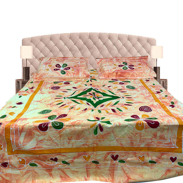 Kalamkari Printed Orange Color Double Bedsheet with Pillow Covers | डबल बेडशीट के साथ तकिया कवर