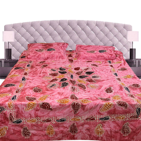 Block Printed Pink Color Double Bedsheet with Pillow Covers | डबल बेडशीट के साथ तकिया कवर