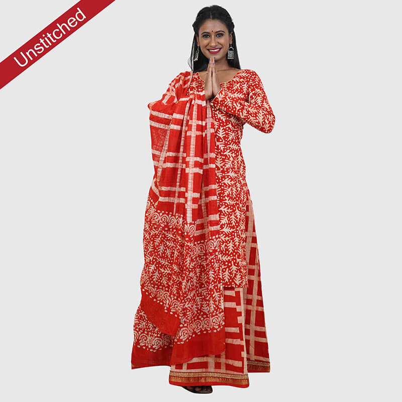 Batik Print Red Color Unstitched Salwar Suit