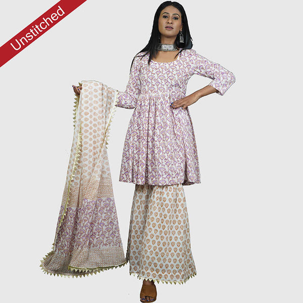 Block Print White and Purple Color Salwar Suit