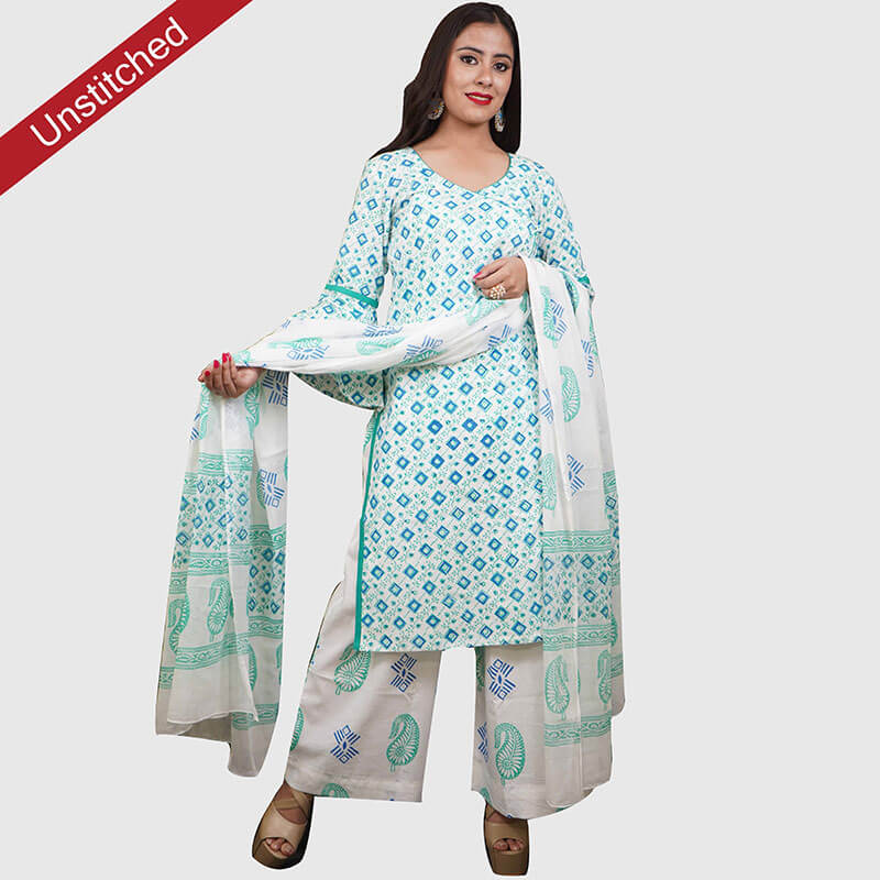Block Print Salwar Suit (White-Green with Blue Square)