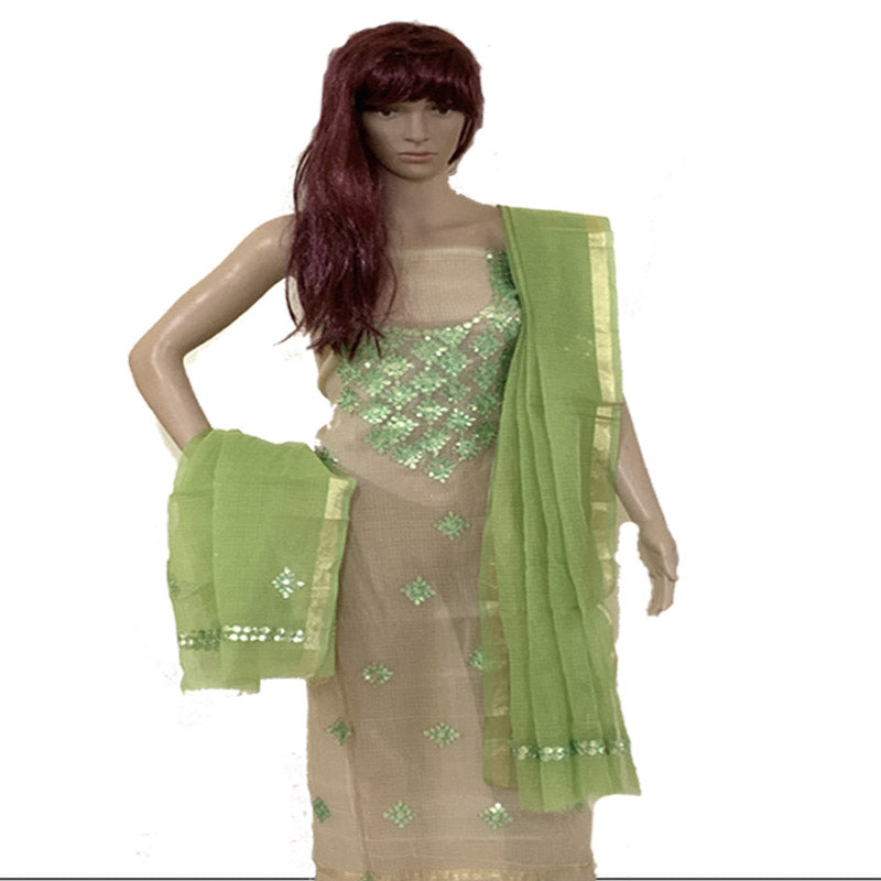 Kota Doriya Pistachio Green Color Kurta And Dupatta Unstitched Fabric