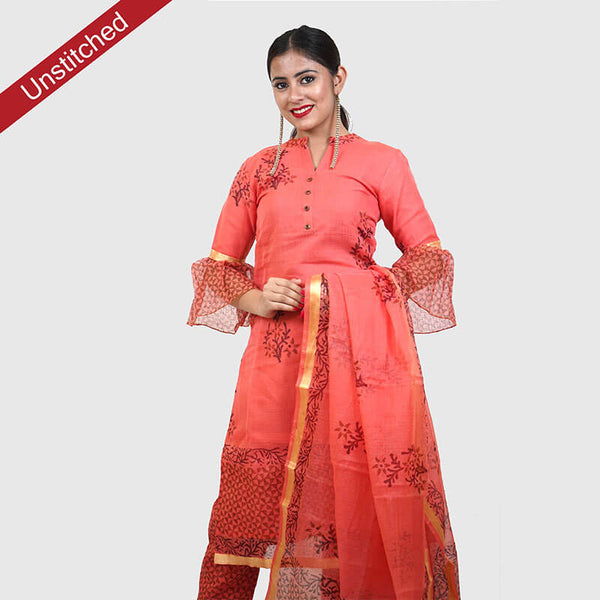 Kota Doria Red and Black Unstitched Kurta and Dupatta with Cotton Bottom | कोटा डोरिया सलवार सूट