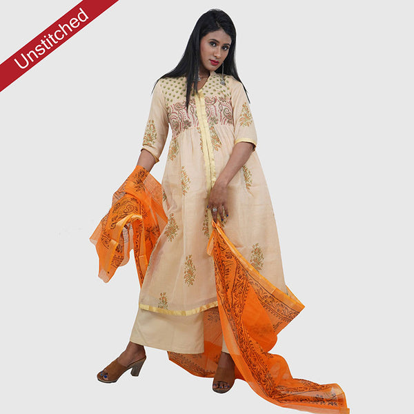 Kota Doria Premium Unstitched Grey-Orange Kurta And Dupatta Fabric