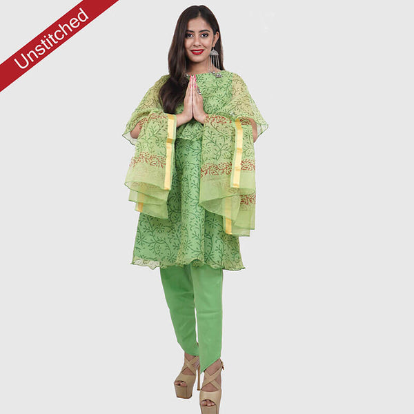 Kota Doria Unstitched Green  Kurta and Dupatta with Cotton Bottom | कोटा डोरिया सलवार सूट