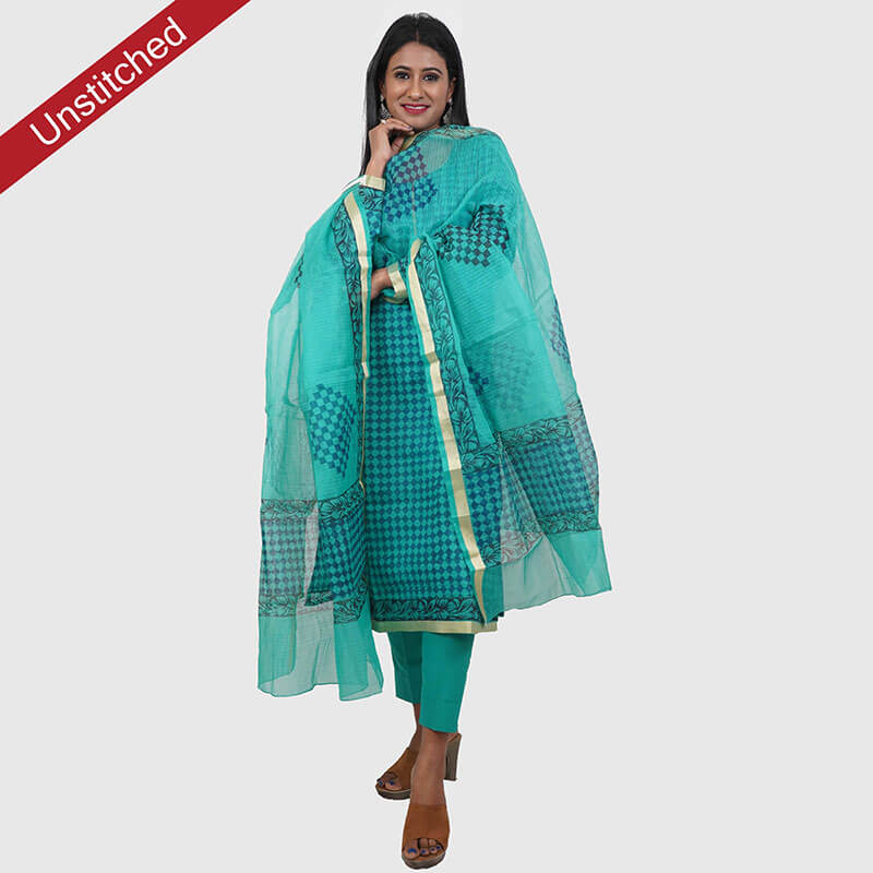 Kota Doria Sky Blue Unstitched Kurta and Dupatta with Cotton Bottom | कोटा डोरिया सलवार सूट