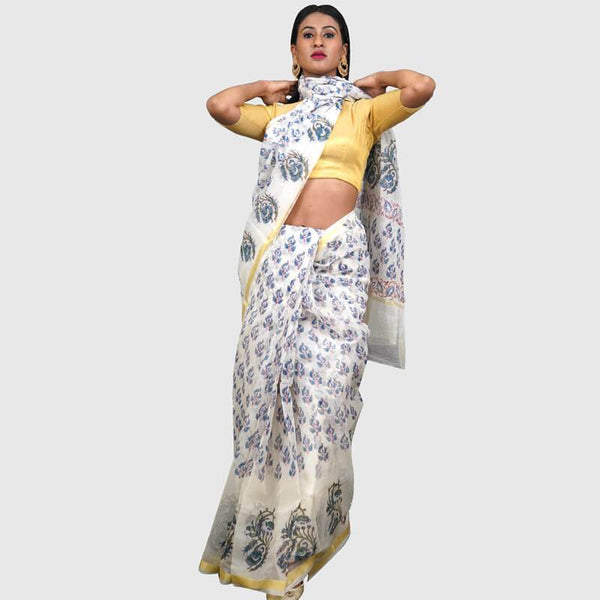 Kota Doria Sarees Off White Color