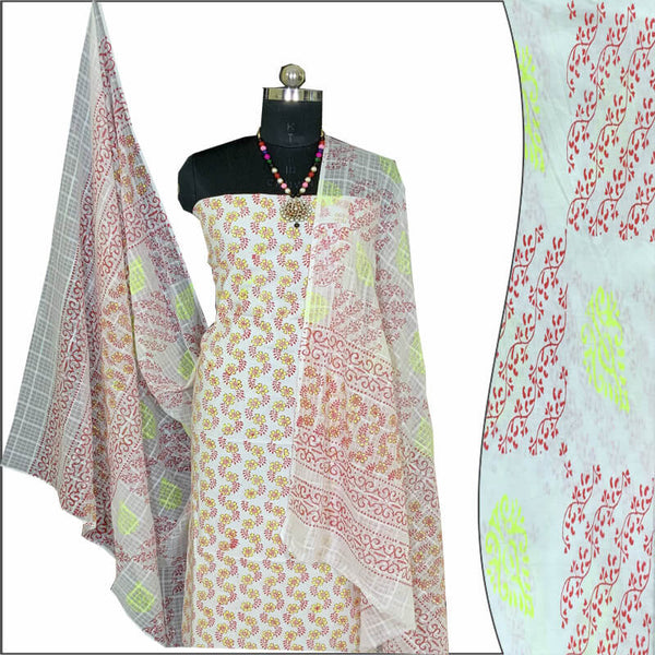 Block Print Salwar Suit (White & Red)