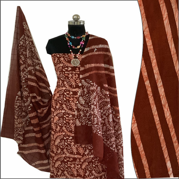 Batik Print Chocolatey color Salwar Suit Material set 100% Cotton | बाटिक प्रिंट सलवार सूट