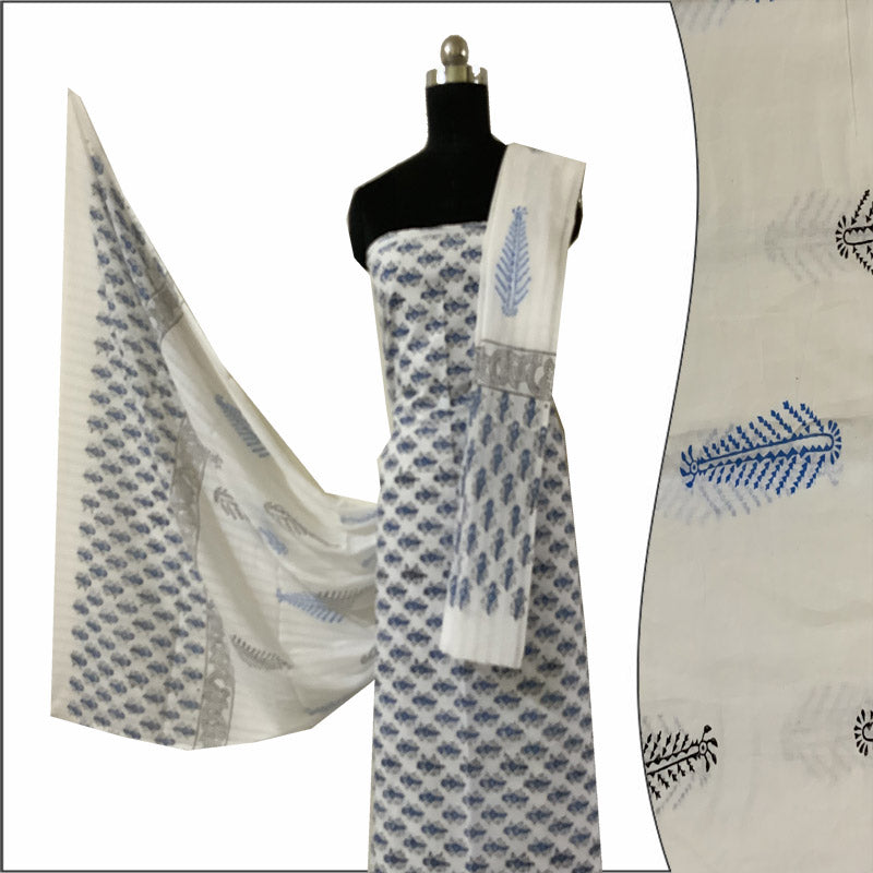 Block Print Salwar Suit (White & Black-Blue )