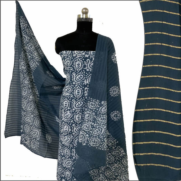 Hand Made Batik Print Green Salwar Suit Fabric- 100 % Cotton