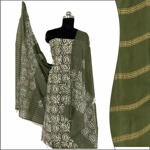 Hand Print Batik Salwar Suit Fabric 100 % Cotton