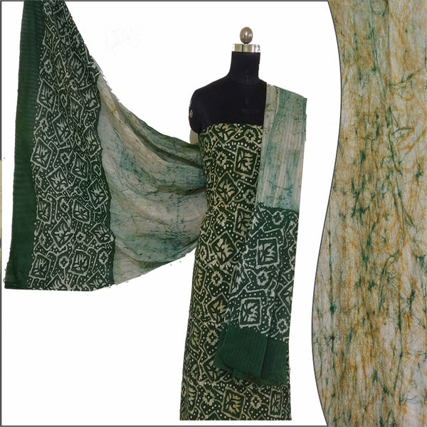 Hand Batik Print Green Salwar Suit Fabric- 100 % Cotton