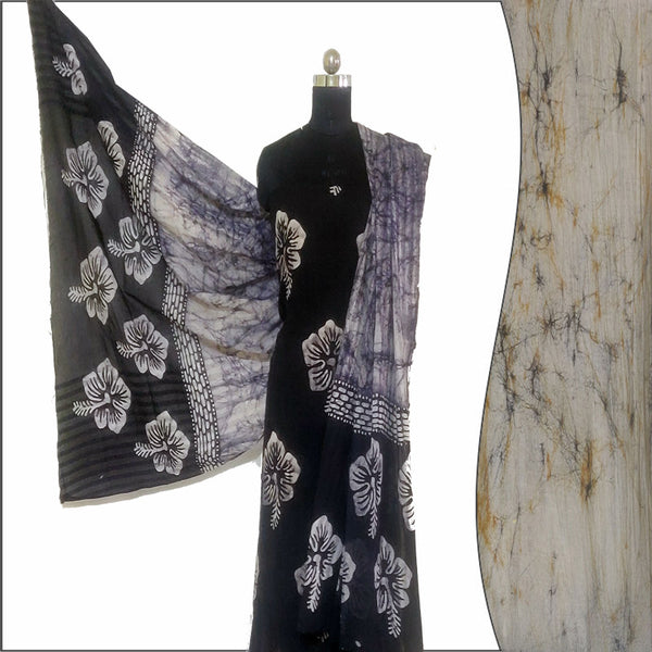 Batik Print Black & Ivory Unstitched Salwar Suit Fabric- 100 % Cotton | बाटिक प्रिंट सलवार सूट
