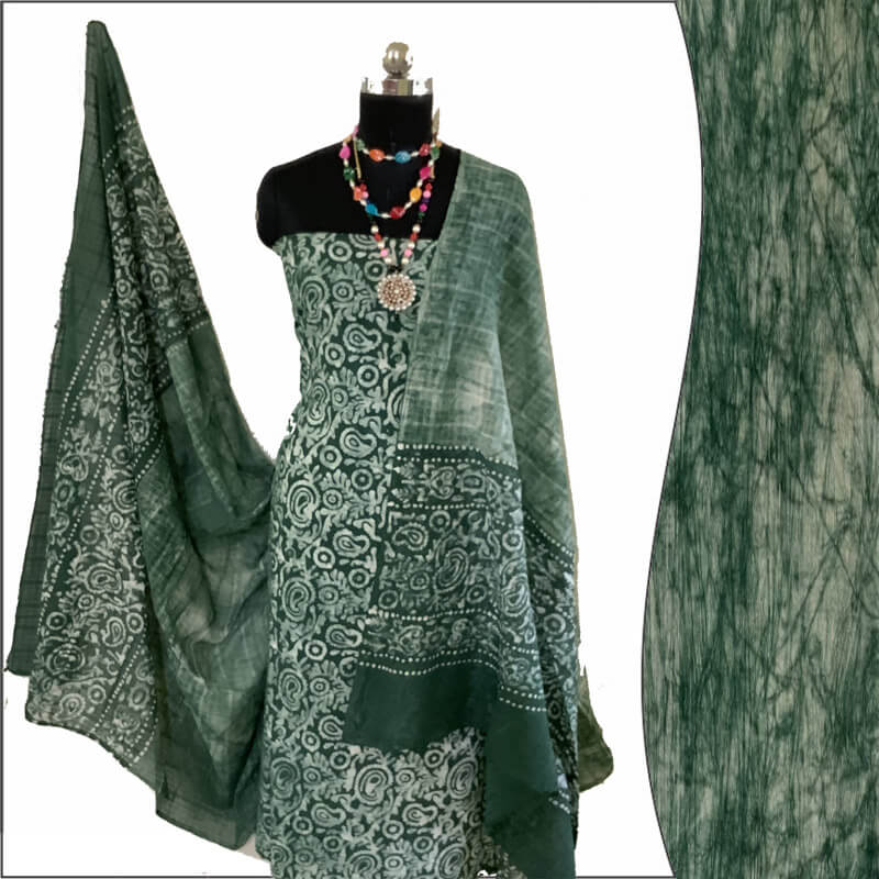 Batik Print Green Ivory Unstitched Salwar Suit Material set 100% Cotton | बाटिक प्रिंट सलवार सूट