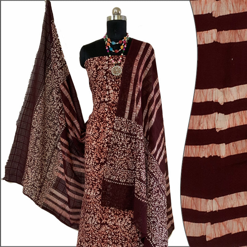 Hand Made Batik Print Chocolate Brown Suit Fabric- 100 % Cotton