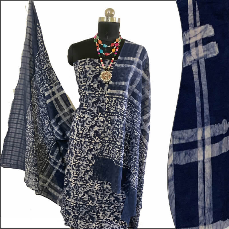 Batik Print Prussian Blue Unstitched Salwar Suit सलवार सूट Fabric- 100 % Cotton