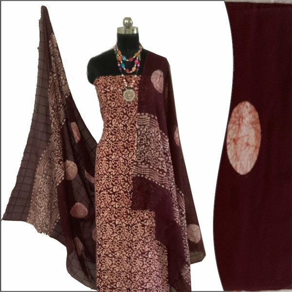 Batik Print  Salwar Suit (Salwar Kameez) Fabric- 100 % Cotton